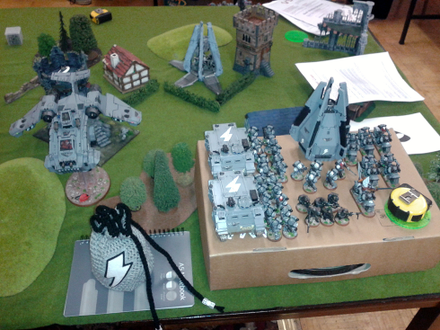 About the only time my army was all on table at once - at least they had a matching dice bag! - click to enlarge