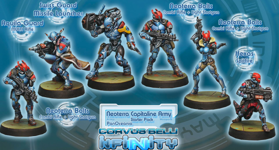 Neoterran Capitaline Army Starter box - reproduced without permission from Blue Table Painting/Corvus Belli - click to enlarge