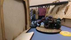One of Jez's Chasseurs tries to fight Adam's Kum Rider