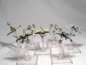 X-wing Rebel Ships with painted engines - click to enlarge