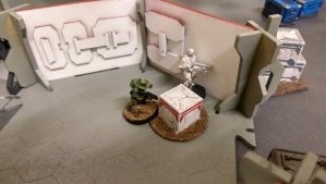 Game 1; The Foxtrot opens the box and finds a Light Grenade Launcher - even the model itself wanted to be WYSIWYG! - click to enlarge