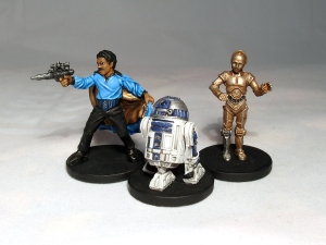 Lando Calrissian, R2-D2 and C-3PO - click to enlarge